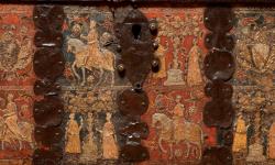 Particolare del fornte di un cassone della collezione di Palazzo Cini